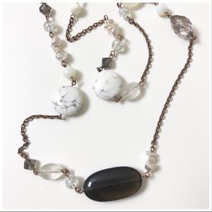 "Lia Sophia 24"" Marble Pearl Beaded Gold Necklace"
